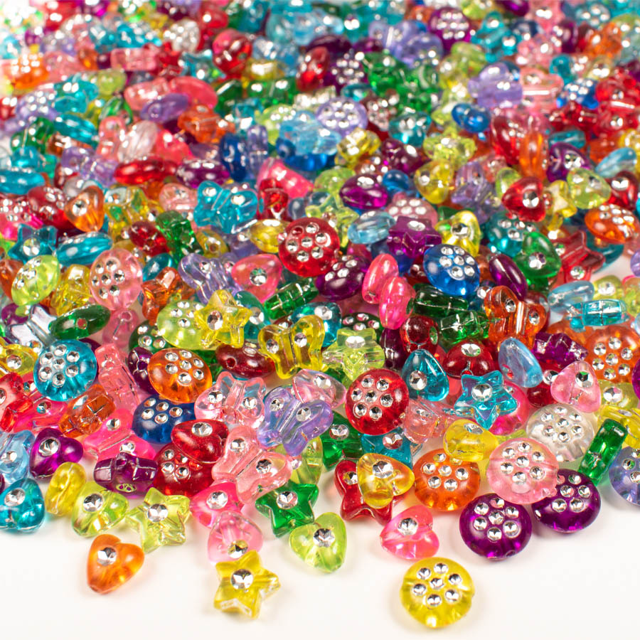 Plastpärlor mix diamant ø 7-10 mm 750 st